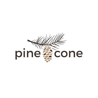 Ilustración de icono de logotipo retro vintage de cono de pino