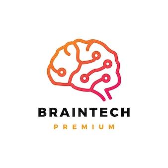 Ilustración de icono de logotipo de tecnología cerebral