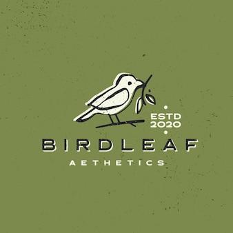 Ilustración de icono de logotipo de trazo de tinta estética vintage de hoja de pájaro