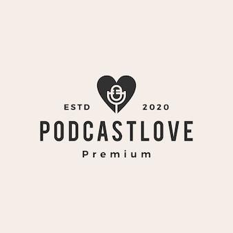 Ilustración de icono de logotipo vintage de amor de podcast