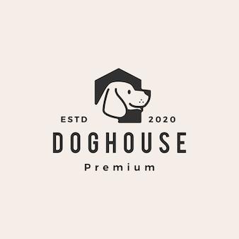Ilustración de icono de logotipo vintage de casa de perro hipster