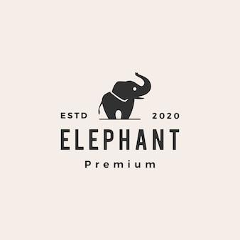 Ilustración de icono de logotipo vintage elefante hipster