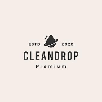 Ilustración de icono de logotipo vintage de gota limpia planeta