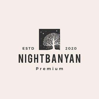 Ilustración de icono de logotipo vintage de hipster árbol de banyan de noche