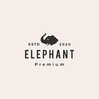 Ilustración de icono de logotipo vintage hipster cabeza de elefante