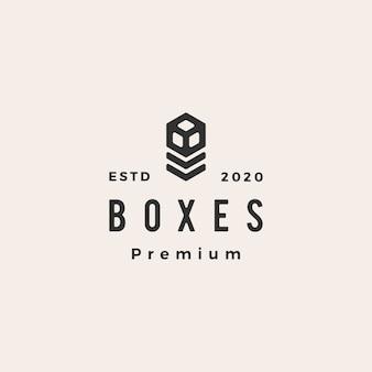 Ilustración de icono de logotipo vintage hipster de cajas