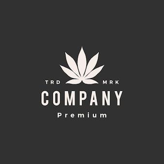 Ilustración de icono de logotipo vintage de hipster de cannabis índica