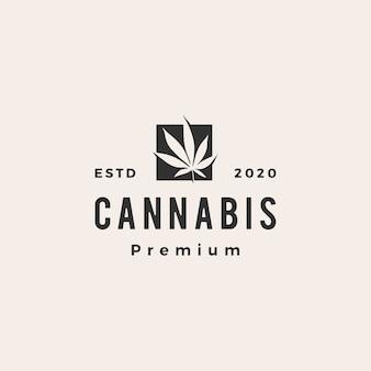 Ilustración de icono de logotipo vintage hipster de cannabis