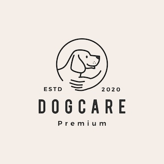 Ilustración de icono de logotipo vintage de hipster de cuidado de perro