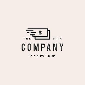 Ilustración de icono de logotipo vintage hipster dinero rápido rápido
