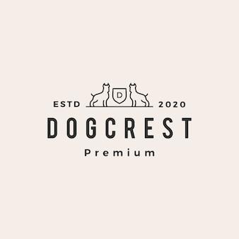 Ilustración de icono de logotipo vintage de hipster de escudo de perro