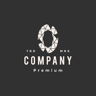 Ilustración de icono de logotipo vintage de hipster de gema de alejandrita