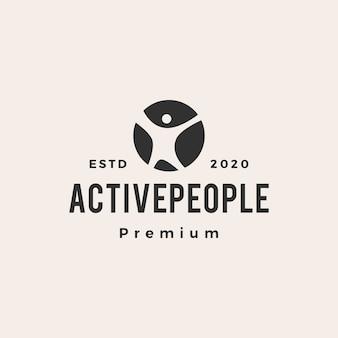 Ilustración de icono de logotipo vintage hipster de gente activa