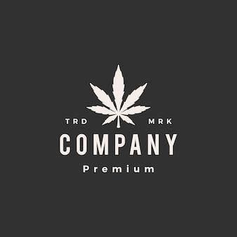 Ilustración de icono de logotipo vintage de hipster de hoja de cannabis