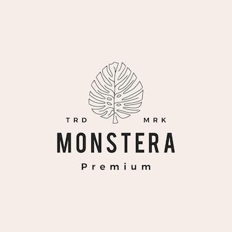 Ilustración de icono de logotipo vintage de hipster de hoja de monstera
