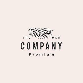 Ilustración de icono de logotipo vintage de hipster de hoja de palma
