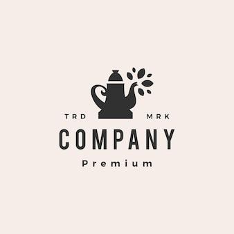Ilustración de icono de logotipo vintage de hipster de hoja de té de olla
