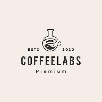 Ilustración de icono de logotipo vintage de hipster de laboratorio de café