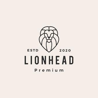 Ilustración de icono de logotipo vintage hipster de línea de cabeza de león
