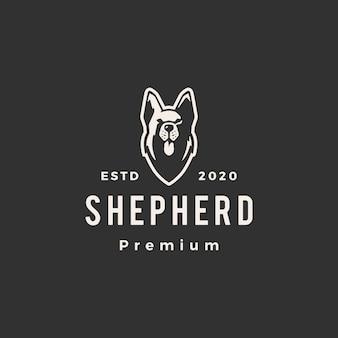 Ilustración de icono de logotipo vintage hipster de perro pastor alemán