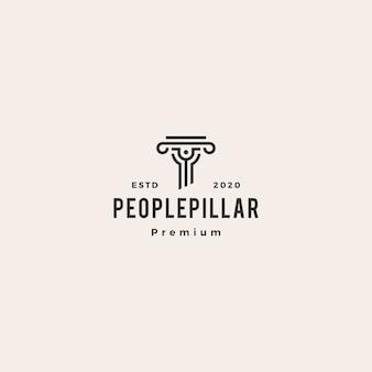 Ilustración de icono de logotipo vintage de hipster de pilar de personas
