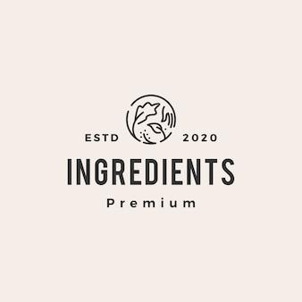 Ilustración de icono de logotipo vintage de ingredientes