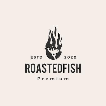 Ilustración de icono de logotipo vintage de llama de fuego de pescado asado