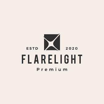 Ilustración de icono de logotipo vintage de luz de llamarada