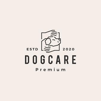 Ilustración de icono de logotipo vintage de mano de cuidado de perro