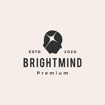 Ilustración de icono de logotipo vintage de mente brillante
