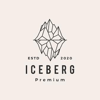 Ilustración de icono de logotipo vintage de montaje de iceberg