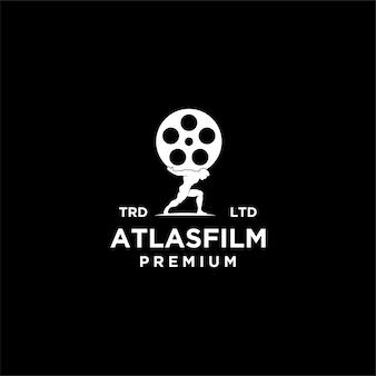 Ilustración de icono de logotipo vintage de película atlas