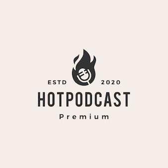Ilustración de icono de logotipo vintage de podcast fuego hipster caliente