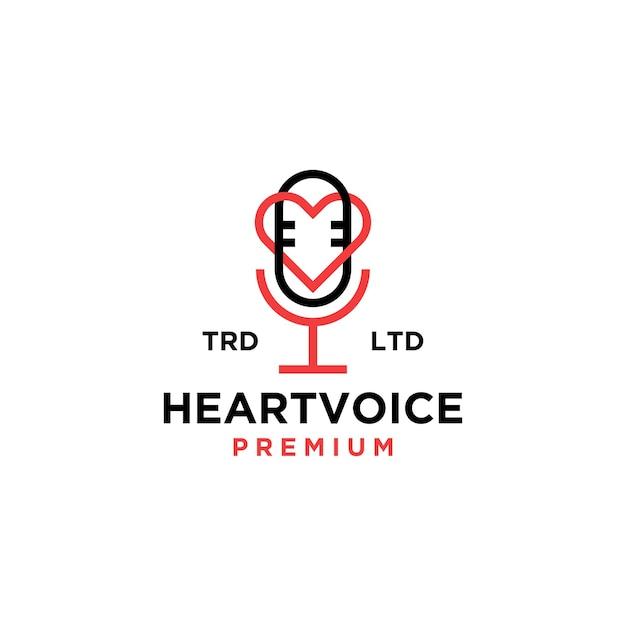 Ilustración de icono de logotipo vintage de podcast de voz de corazón
