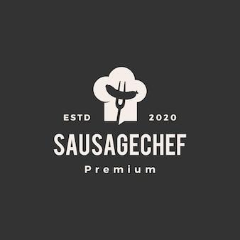 Ilustración de icono de logotipo vintage de sombrero de chef de salchicha