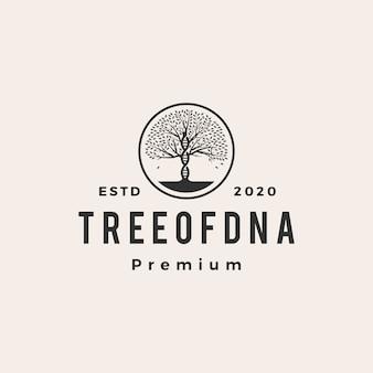 Ilustración de icono de logotipo vintage de techo de adn de árbol