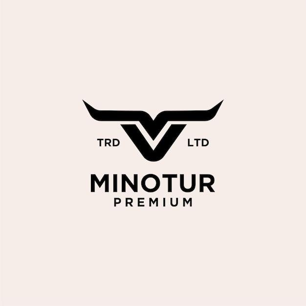 Ilustración de icono de logotipo vintage de vaca minotauro