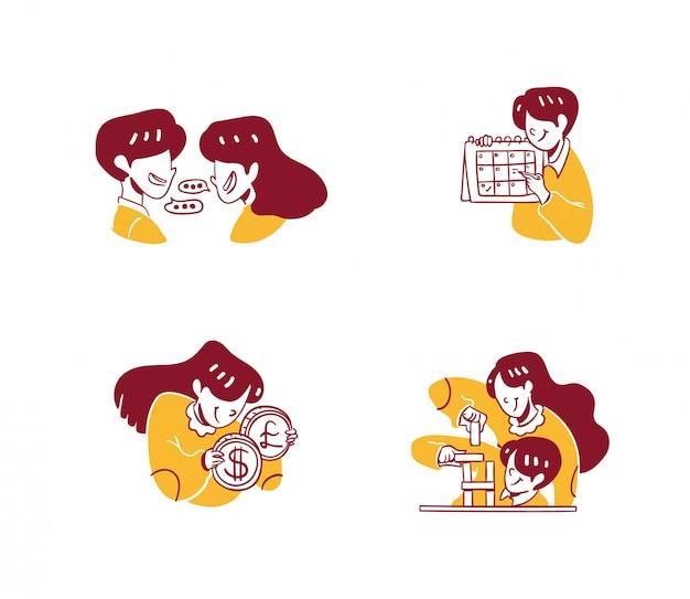 Ilustración de icono de negocios y finanzas estilo de diseño dibujado a mano, discusión de hombre y mujer, conversación, programación con calendario, cambio de dinero dólar a euro, estrategia de trabajo en equipo