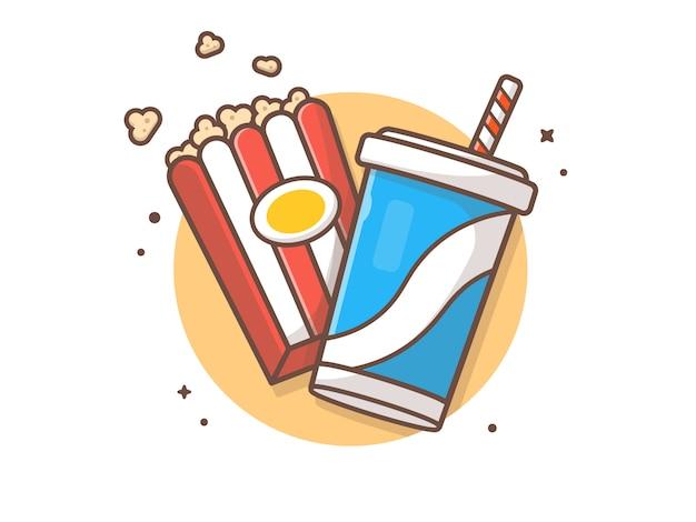 Ilustración de icono de palomitas de maíz y refrescos