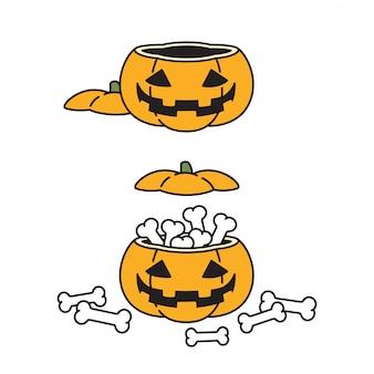 Ilustración de icono de personaje de dibujos animados de calabaza de halloween