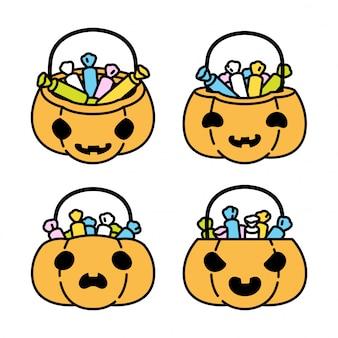 Ilustración de icono de personaje de dibujos animados de cesta de caramelo de calabaza de halloween