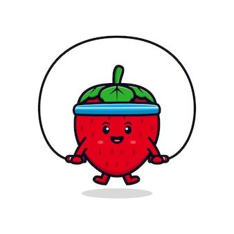Ilustración de icono plano de entrenamiento de personaje de fresa lindo