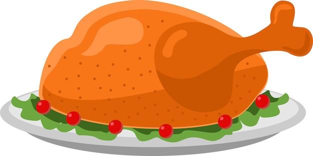Ilustración de icono plano de pavo día de acción de gracias en plato pavo asado
