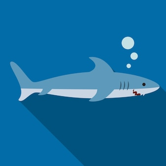 Ilustración de icono plano de tiburón aislado símbolo de signo de vectro