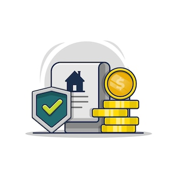 Ilustración de icono de póliza de seguro de protección del hogar, documento de acuerdo con dinero