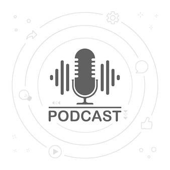 Ilustración de icono de radio de podcast. micrófono de mesa de estudio con podcast de texto de transmisión. logotipo de concepto de grabación de audio por webcast.