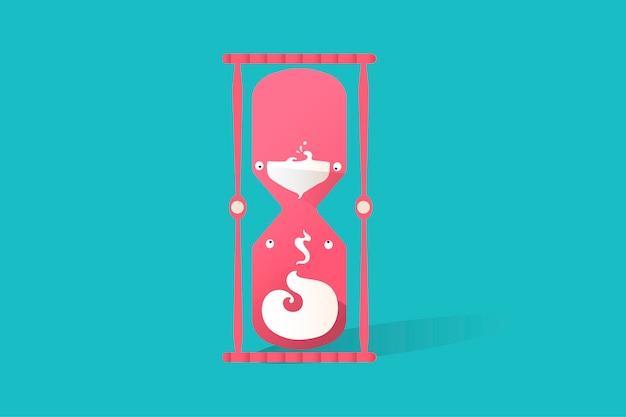 Ilustración del icono de reloj de arena sobre fondo azul