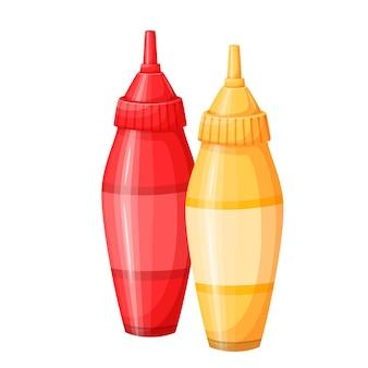 Ilustración de icono de salsa de tomate mostaza y tomate