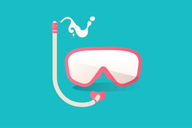 Ilustración del icono de snorkel sobre fondo azul