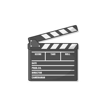 Ilustración de icono de tablero de chapaleta de película. icono de claqueta de cine. producción de películas